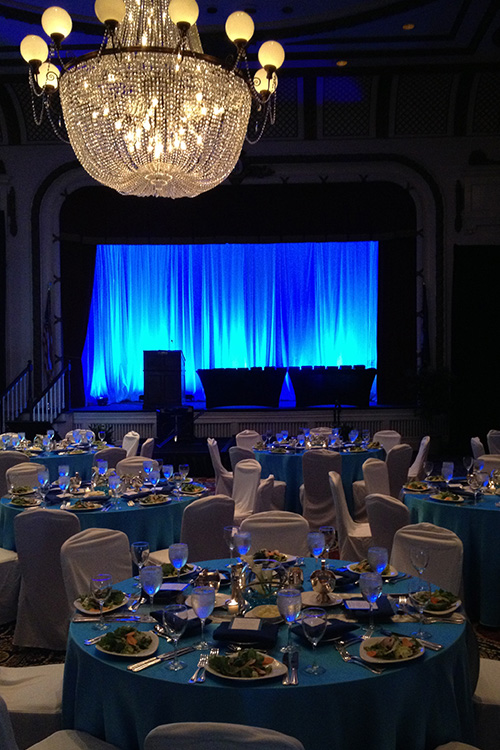 Blue lights drape at Jefferson Hotel