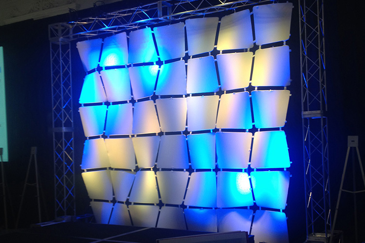 White & Blue Waffle Wall